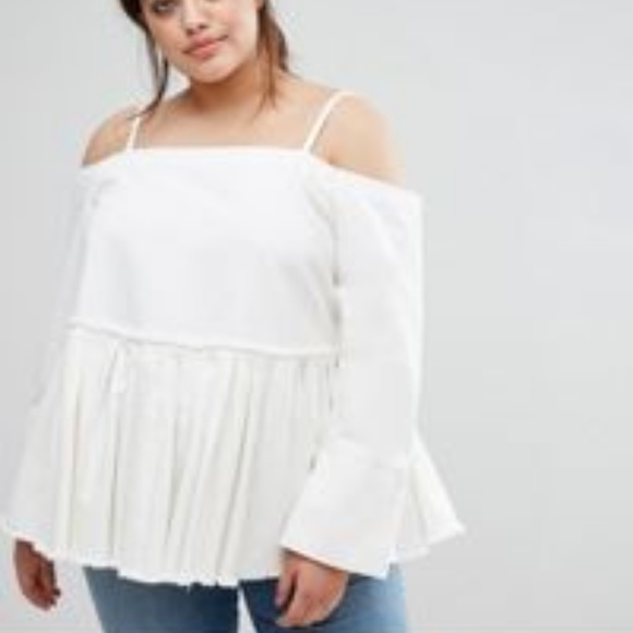 ASOS Tops - Asos White Denim off the shoulder pleated top NWT